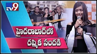 Actress Rashmika Mandanna launches new Happi mobile showroom in Hyderabad