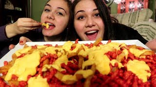 Cheese Hot Cheetos and Cheese Fries MUKBANG