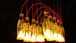 ✔ Recycled Coca Cola bottles made into a Chandelier