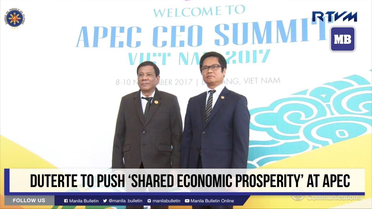 Duterte to push 'shared economic prosperity' at APEC