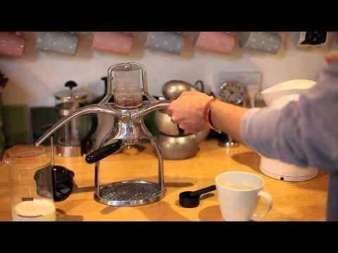 Presso espresso machine makes a flat white coffee