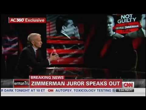 Part 1 of 2 - Anderson Cooper Interviews Member Of Zimmerman Jury Defending Acquittal Decision