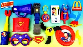 2018 FULL WORLD SET McDONALD'S JUSTICE LEAGUE ACTION HAPPY MEAL TOYS DC SUPERMAN BATMAN GUMBALL EURO