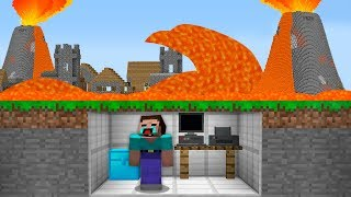 NOOB DON'T KNOW HOW TO SURVIVE IN VOLCANO EXPLOSION APOCALYPSE! Minecraft Noob vs Pro Animation