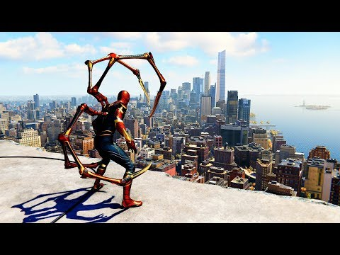 Spider-Man PS4 - Iron Spider Suit Combat & Free Roam Gameplay