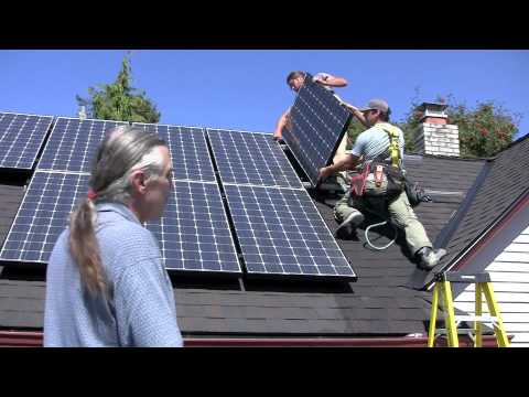 Installing solar panels on a house