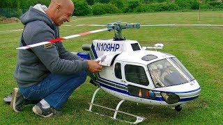 AS-350 ECUREUIL BIG SCALE RC ELECTRIC MODEL HELICOPTER FLIGHT DEMONSTRATION