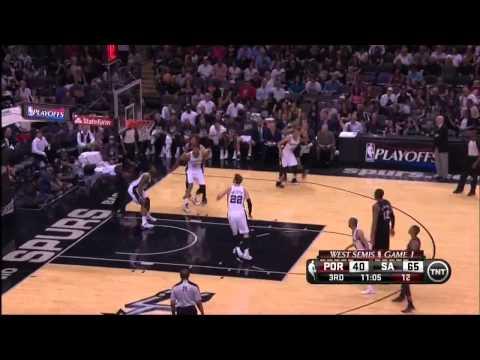 NBA, playoff 2014, Spurs vs. Trail Blazers, Round 2, Game 1, Move 24, Nicolas Batum, airBall