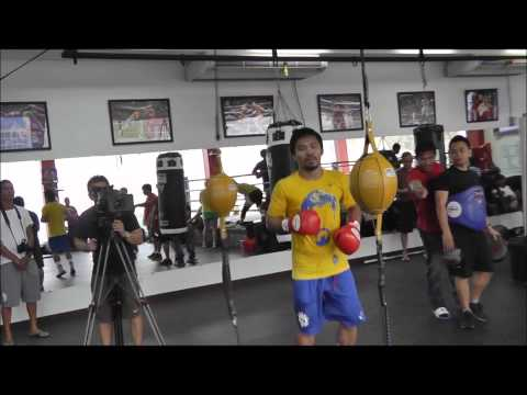 Manny Pacquiao shadowboxing, hitting double-end bag and skipping rope Image 1
