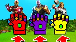 Minecraft PE : DO NOT CHOOSE THE WRONG INFINITY GAUNTLET! (Iron Man, Thanos & Thor)
