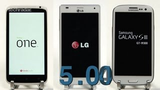 Galaxy S3 vs HTC One X vs LG 4X Quad-core Speed Test