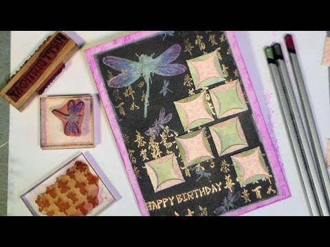 Derwent metallic pencils dragonfly card