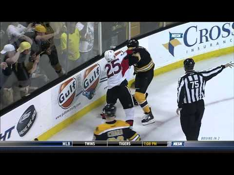 Milan Lucic fights Chris Neil w/SlowMo 4/28/13