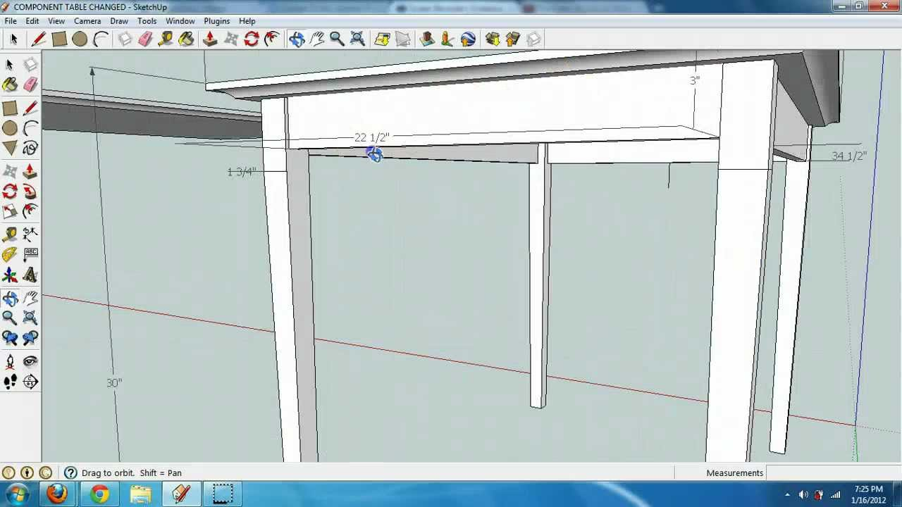 1 creating a table in google sketchup with components for Table design sketchup