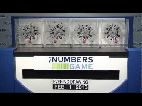 Evening Numbers Game Drawing: Friday, February 1, 2013