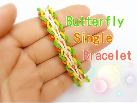Butterfly Single Rainbow Loom Bracelet Tutorial ~ How To