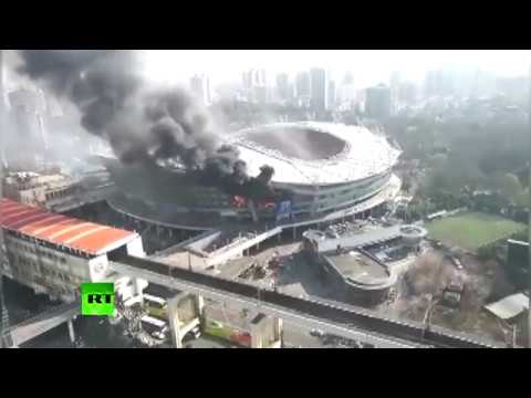 Shanghai Shenhua football stadium hit by fire