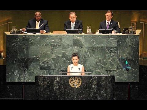 Li Bingbing, Leonardo DiCaprio deliver speeches at UN Climate Summit