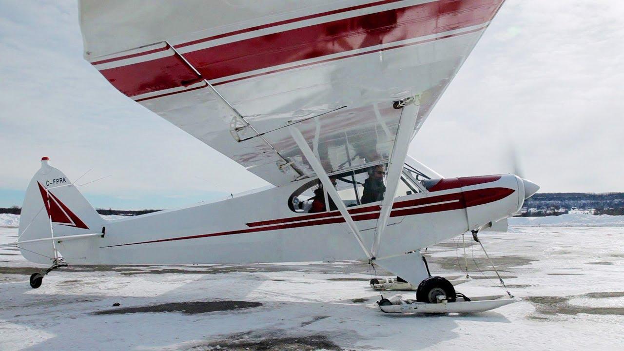 1st Time Ski Flying Super Cub Tail Wheel Conversion
