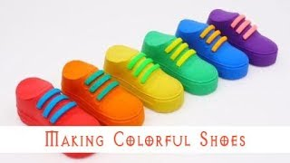 Making Cute Little Colorful Shoes With Kinetic sand - Learn Colors & Play With Doh & Clay