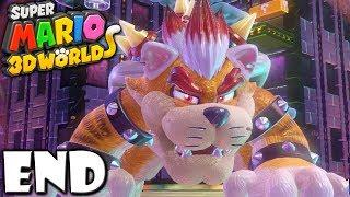 Super Mario 3D World: 2P Co-Op! Meowser Boss Bowser ENDING (Nintendo Wii U HD Gameplay Walkthrough)