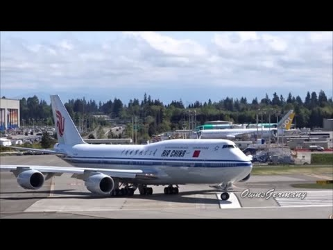 1st Flight of Air China Boeing 747-8i B-2482 w/ High Speed Taxi Test @ KPAE Paine Field