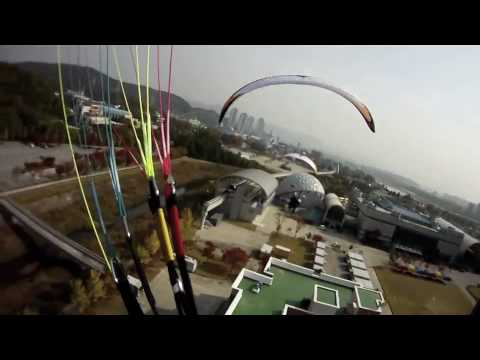 Paramotor city flying swoopdown korea