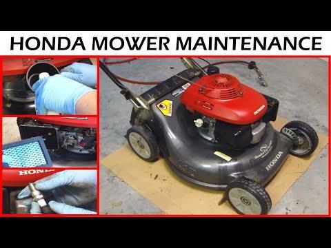 honda lawnmower maintenance   oil change sharpen blade youtube