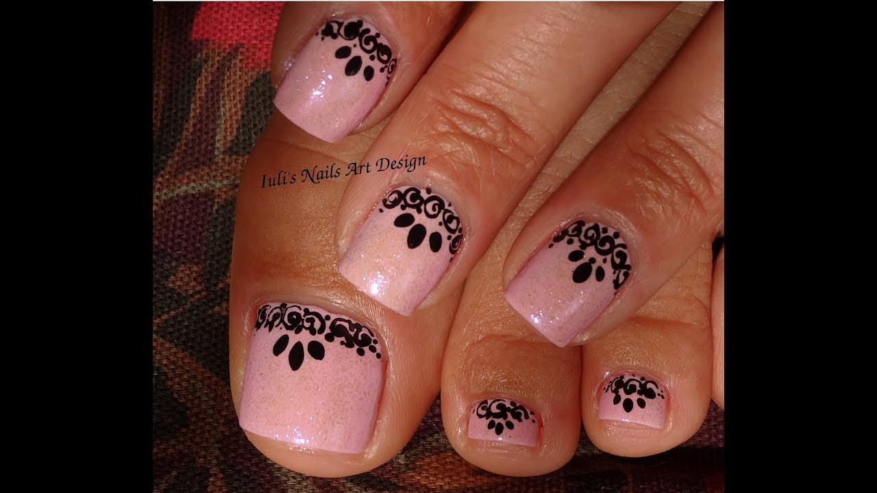 Hand Painted Nail Art Designs: Black Lace Effect Free Hand Painted