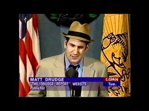 Matt Drudge Creator of Drudge Report Full Press Conference - (1998)