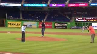 Bill Goldberg First Pitch, Spear, Marlins Tom Koehler at Marlins Park Aug 2013