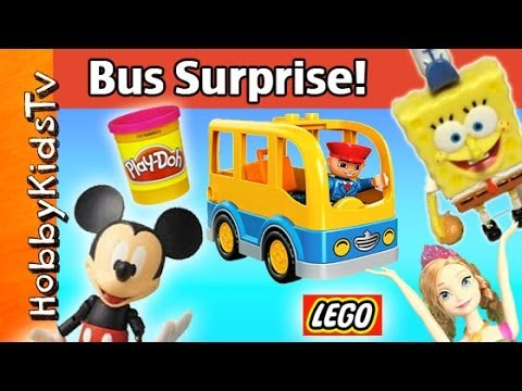 Lego School Bus Set + Surprise Party! Mickey Mouse, SpongeBob, Anna Princess, Pl