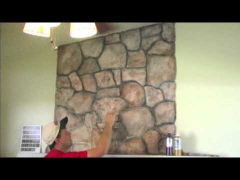 How to mud on a faux stone and wood grain look randy for How to paint faux marble wall