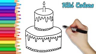 How to Draw Birthday Cake Part 1 | Teach Drawing for Kids and Toddlers Coloring Page Video