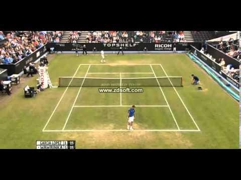 Stanislas Wawrinka wins 1st set 6-1 against García López Semifinal Hertogenbosch 2013