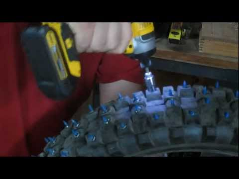 studding a dirt bike tire for ice and snow