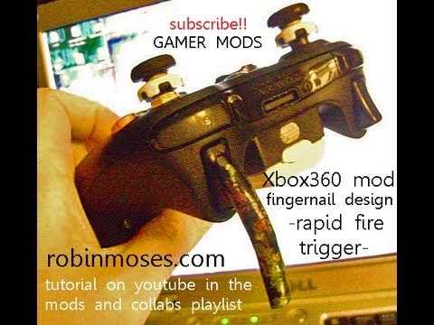 RAPID FIRE fingernail mod XBOX 360 CONTROLLER GIRL GAMERS! robin moses nail art game mod tutorial