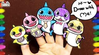 Finger Family   How to make a Shark Family   상어가족 손가락인형 만들기