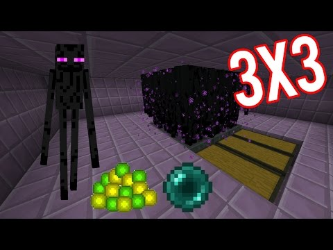 Minecraft Easy Big Enderman Farm 3x3 XP+Ender Pearl 2D and 3D tutorial
