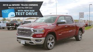 $100 Visa Gift Card Just for Test Driving the 2019 Ram | Menomonie & Eau Claire | May 2019