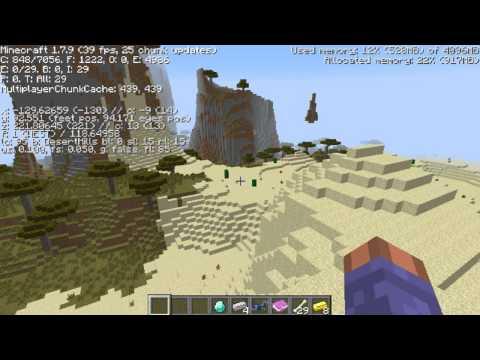 Awesome Savannah plateau, diamonds spawn, npc village, desert temple Minecraft seed 1.7.9
