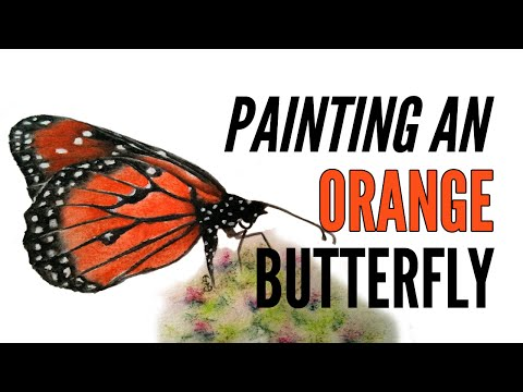 How To Paint A Butterfly With Inktense In Orange