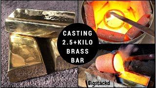 BRASS CASTING 2.5+ KILO GOLD BAR FROM SCRAP - 100% PURE BRASS