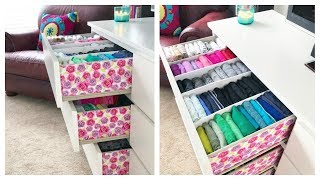 How I Organize & Embellish My Dresser // Konmari Drawer Organization & DIY Dividers