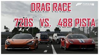 488 PISTA VS MCLAREN 720S ! BEST DRAG RACE