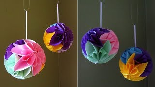 Star flower ball - easy paper flower ball tutorial - EzyCraft