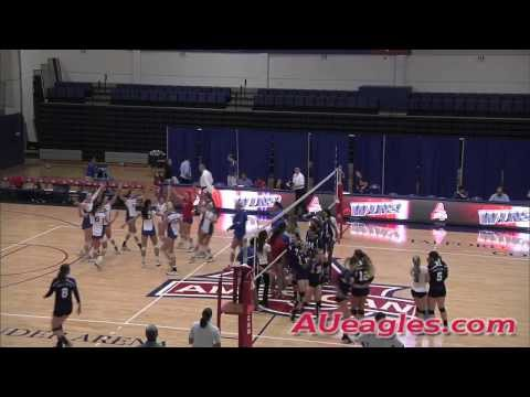 American Volleyball Extends Patriot League Unbeaten Streak with 3-0 Win Over Holy Cross