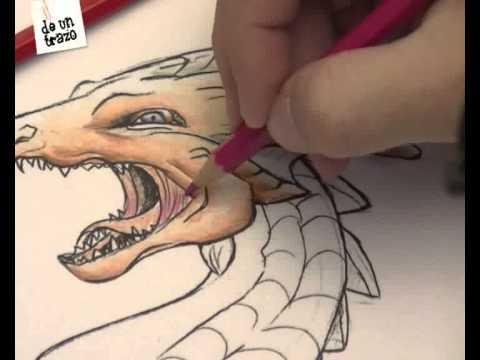 Dibujo Lapiz Dragon Dragon Coloreado Con Lapiz