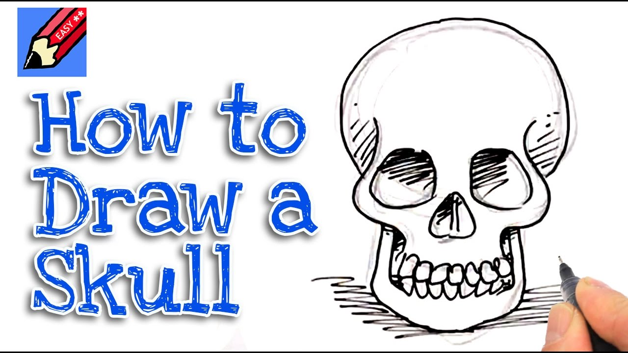 how to draw a skull from the front real easy