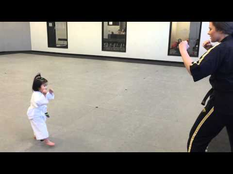3 Year Old White Belt Reciting the Student Creed -  3 éves Fehér öves